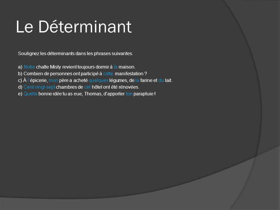 Le Déterminant Composez deux phrases en utilisant dans l'une le déterminant aucun et dans l'autre le pronom aucun.