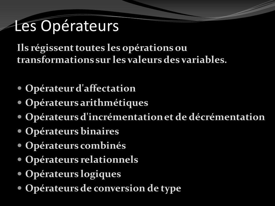 Les Opérateurs Ils régissent toutes les opérations ou transformations sur les valeurs des variables. Opérateur d'affectation Opérateurs arithmétiques