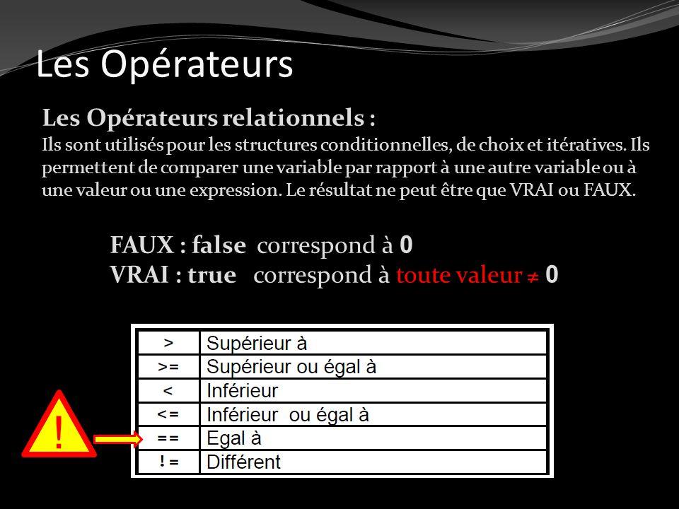 Les Opérateurs Les Opérateurs relationnels : Ils sont utilisés pour les structures conditionnelles, de choix et itératives. Ils permettent de comparer