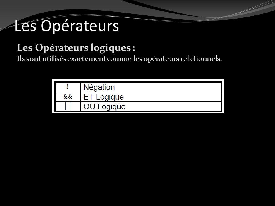 Les Opérateurs Les Opérateurs logiques : Ils sont utilisés exactement comme les opérateurs relationnels.