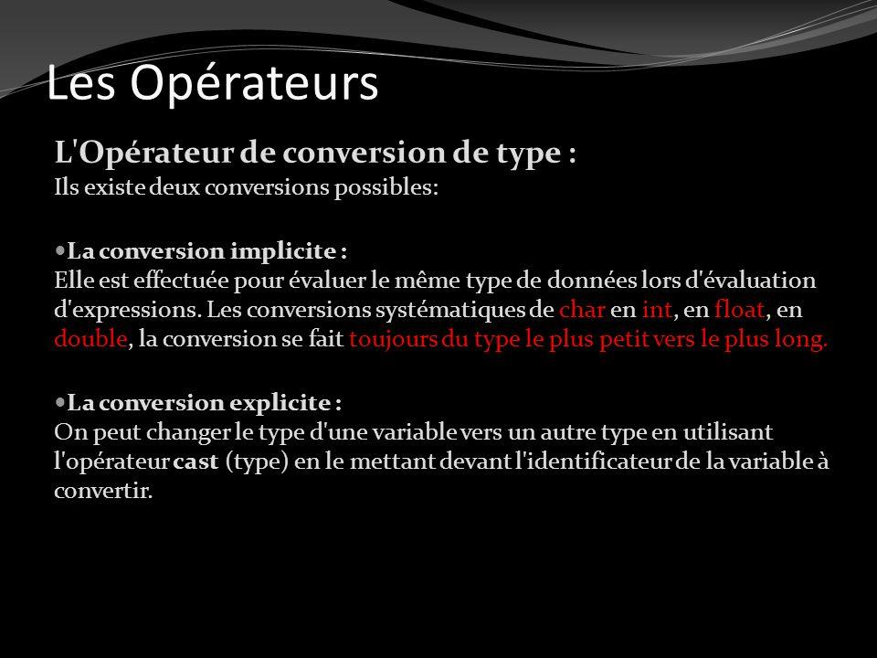 Les Opérateurs L'Opérateur de conversion de type : Ils existe deux conversions possibles: La conversion implicite : Elle est effectuée pour évaluer le