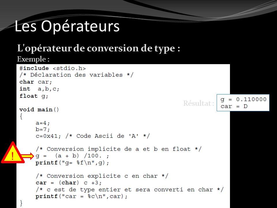 Les Opérateurs L'opérateur de conversion de type : Exemple : Résultat : !