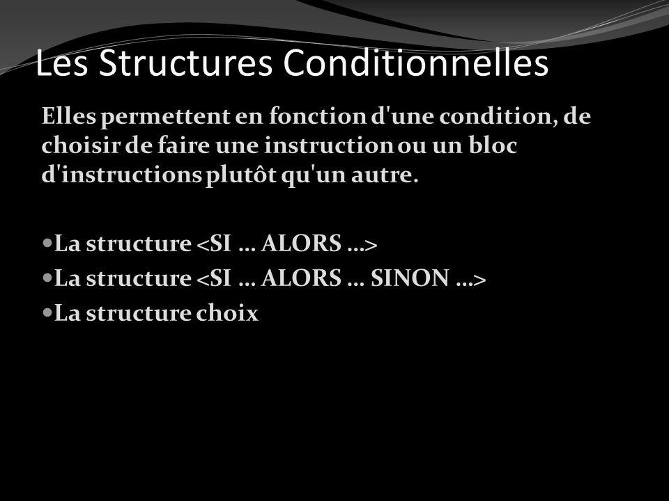 Les Structures Conditionnelles Elles permettent en fonction d'une condition, de choisir de faire une instruction ou un bloc d'instructions plutôt qu'u