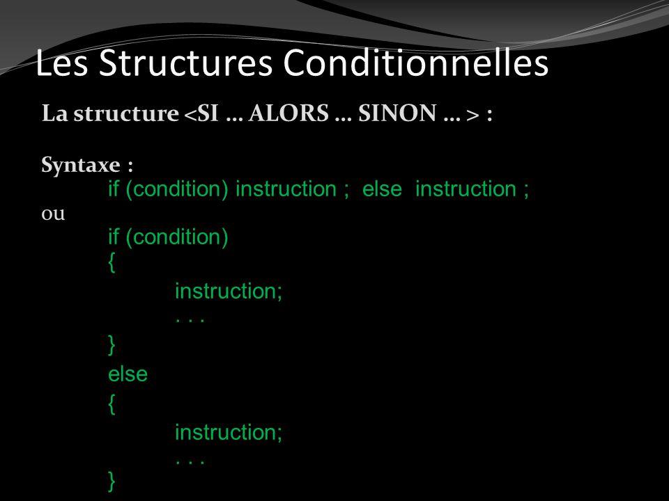 Les Structures Conditionnelles La structure : Syntaxe : if (condition) instruction ; else instruction ; ou if (condition) { instruction;... } else { i