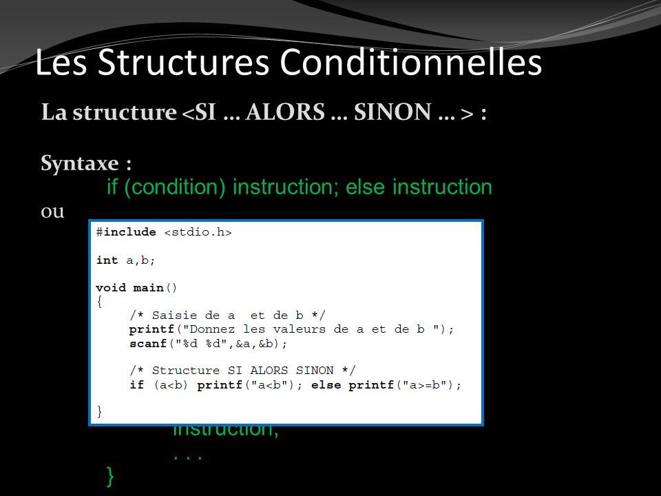 Les Structures Conditionnelles La structure : Syntaxe : if (condition) instruction; else instruction ou if (condition) { instruction;... } else { inst