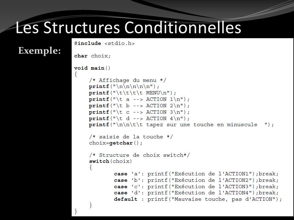 Les Structures Conditionnelles Exemple: