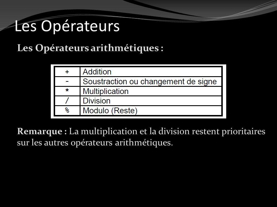Les Opérateurs Les Opérateurs arithmétiques : Remarque : La multiplication et la division restent prioritaires sur les autres opérateurs arithmétiques