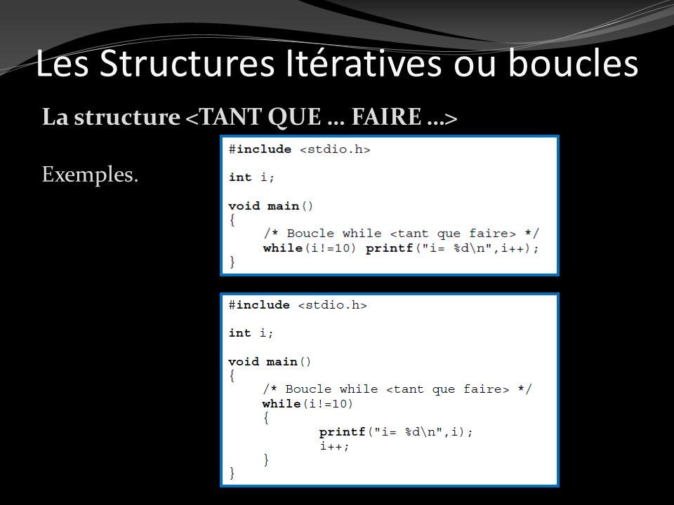 La structure Exemples. Les Structures Itératives ou boucles