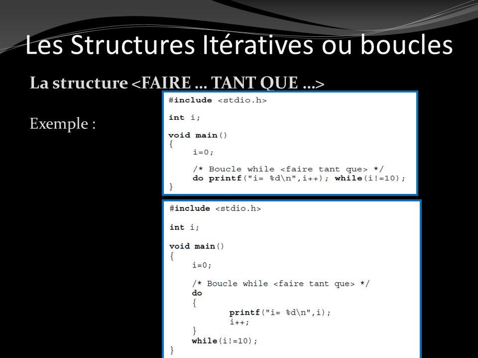 Les Structures Itératives ou boucles La structure Exemple :