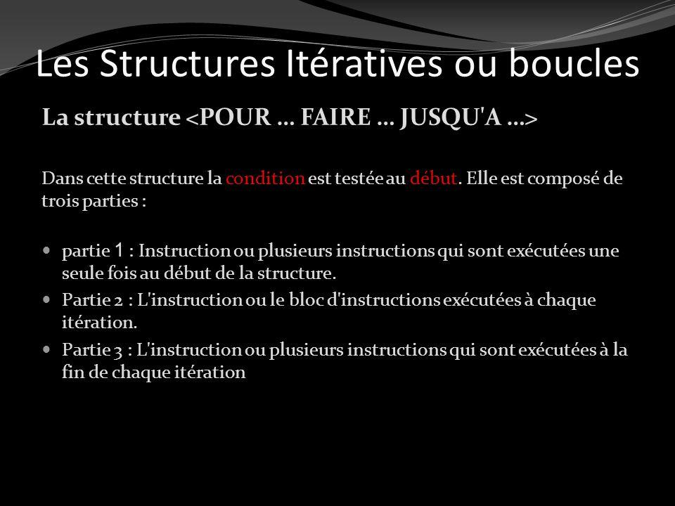 Les Structures Itératives ou boucles La structure Dans cette structure la condition est testée au début. Elle est composé de trois parties : partie 1