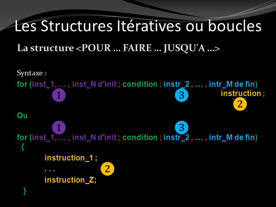 Les Structures Itératives ou boucles La structure Syntaxe : for (inst_1, …, inst_N d'init ; condition ; instr_2, …, intr_M de fin) instruction ; Ou fo