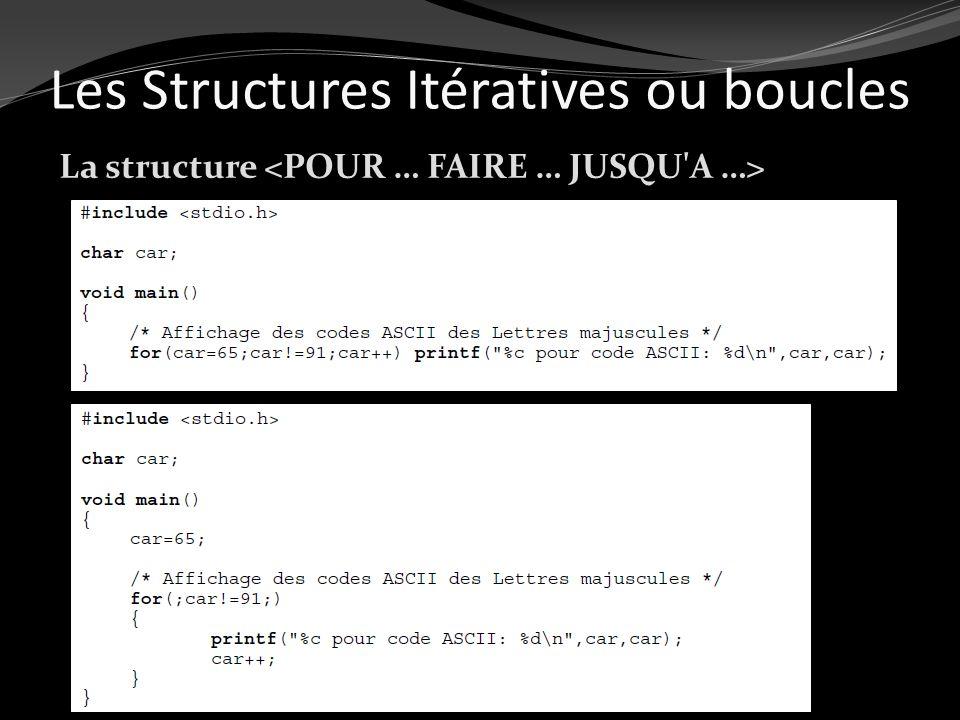 Les Structures Itératives ou boucles La structure