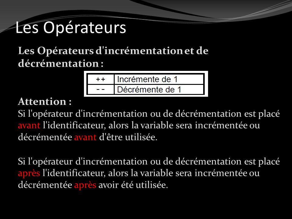 Les Opérateurs Les Opérateurs d'incrémentation et de décrémentation : Attention : Si l'opérateur d'incrémentation ou de décrémentation est placé avant