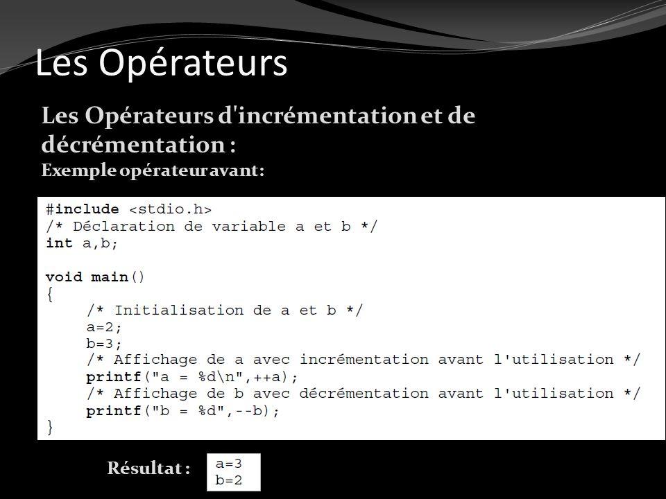 Les Opérateurs Les Opérateurs d'incrémentation et de décrémentation : Exemple opérateur avant: Résultat :