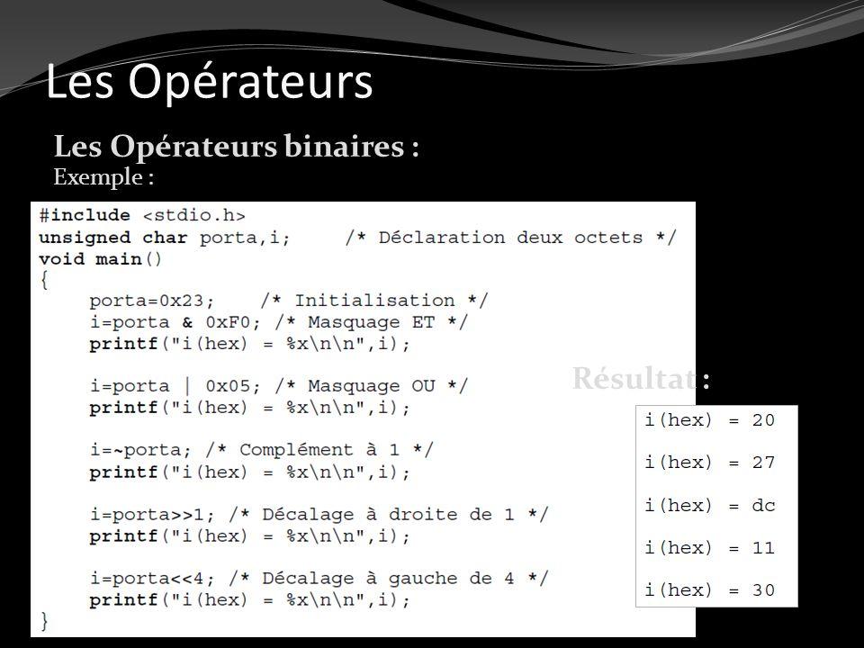 Les Opérateurs Les Opérateurs binaires : Exemple : Résultat :