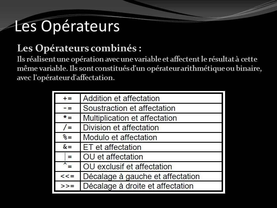 Les Opérateurs Les Opérateurs combinés : Ils réalisent une opération avec une variable et affectent le résultat à cette même variable. Ils sont consti