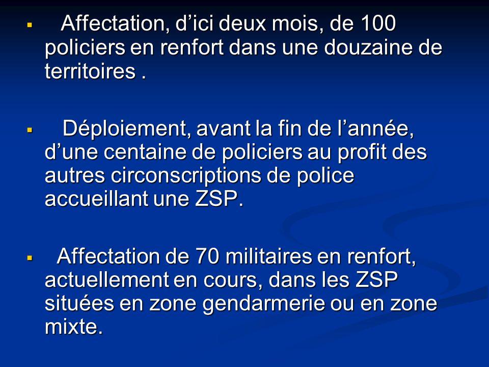  Affectation, d'ici deux mois, de 100 policiers en renfort dans une douzaine de territoires.