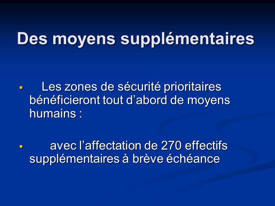 Des moyens supplémentaires  Les zones de sécurité prioritaires bénéficieront tout d'abord de moyens humains :  avec l'affectation de 270 effectifs supplémentaires à brève échéance