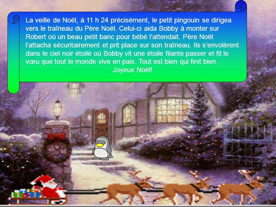 La veille de Noël, à 11 h 24 précisément, le petit pingouin se dirigea vers le traîneau du Père Noël.