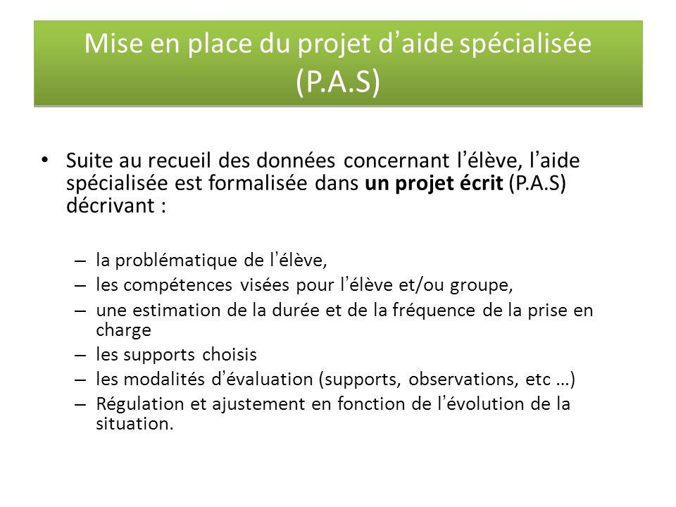 Mise en place du projet d'aide spécialisée (P.A.S) Suite au recueil des données concernant l'élève, l'aide spécialisée est formalisée dans un projet é