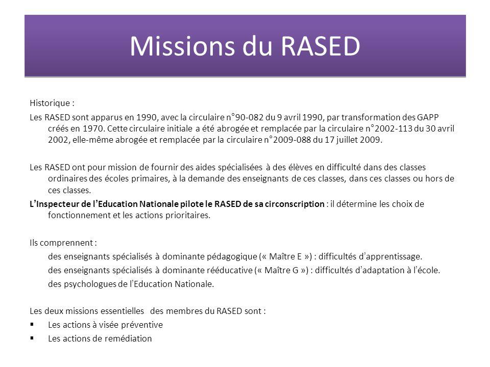 Missions du RASED Historique : Les RASED sont apparus en 1990, avec la circulaire n°90-082 du 9 avril 1990, par transformation des GAPP créés en 1970.