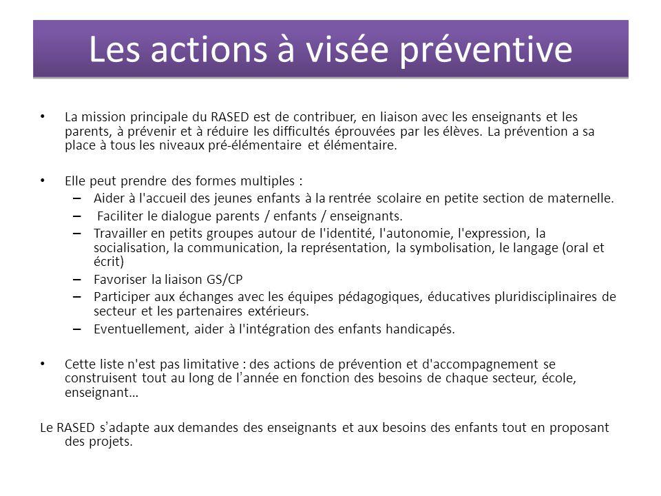 Les actions à visée préventive La mission principale du RASED est de contribuer, en liaison avec les enseignants et les parents, à prévenir et à rédui