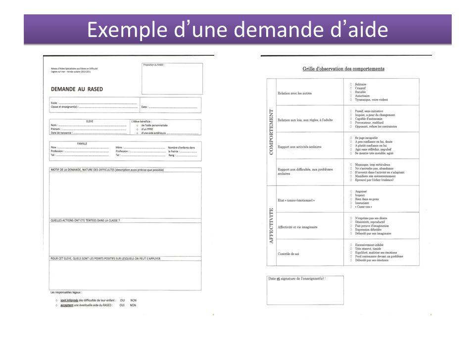 Exemple d'une demande d'aide