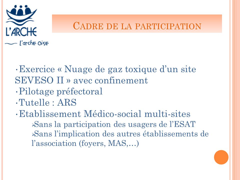 C ADRE DE LA PARTICIPATION Exercice « Nuage de gaz toxique d'un site SEVESO II » avec confinement Pilotage préfectoral Tutelle : ARS Etablissement Médico-social multi-sites  Sans la participation des usagers de l'ESAT  Sans l'implication des autres établissements de l'association (foyers, MAS,…)