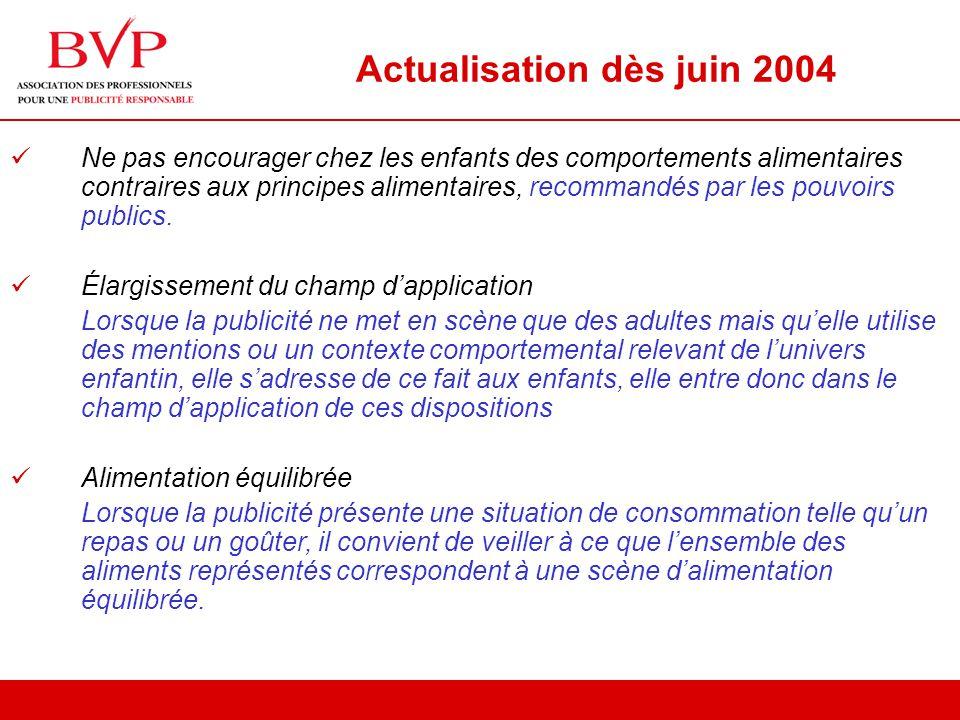 Actualisation dès juin 2004 Ne pas encourager chez les enfants des comportements alimentaires contraires aux principes alimentaires, recommandés par les pouvoirs publics.