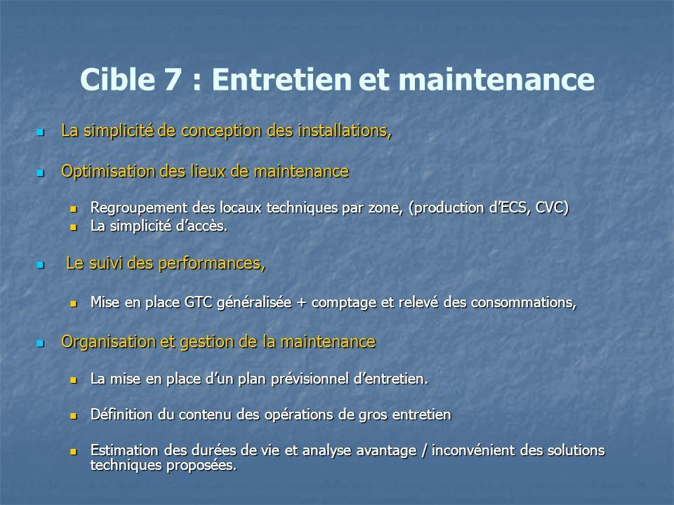 Cible 7 : Entretien et maintenance La simplicité de conception des installations, La simplicité de conception des installations, Optimisation des lieu