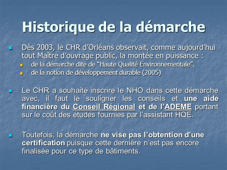 Historique de la démarche Dès 2003, le CHR d'Orléans observait, comme aujourd'hui tout Maître d'ouvrage public, la montée en puissance : Dès 2003, le