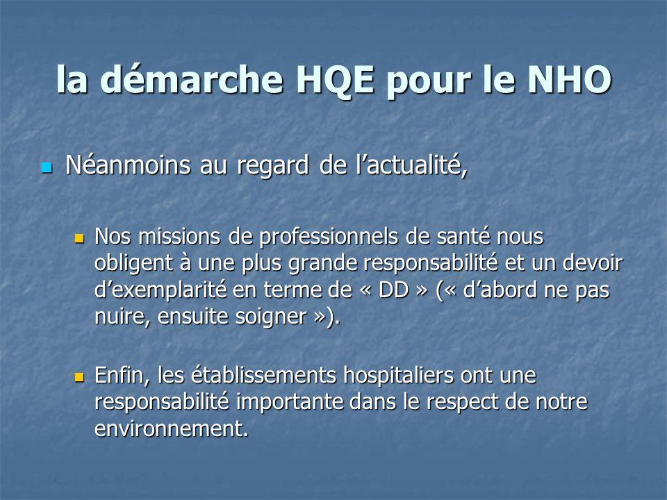 la démarche HQE pour le NHO Néanmoins au regard de l'actualité, Néanmoins au regard de l'actualité, Nos missions de professionnels de santé nous oblig
