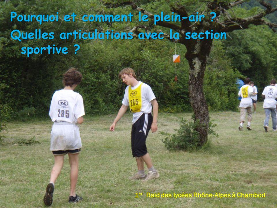 Pourquoi et comment le plein-air ? Quelles articulations avec la section sportive ? 1 er Raid des lycées Rhône-Alpes à Chambod