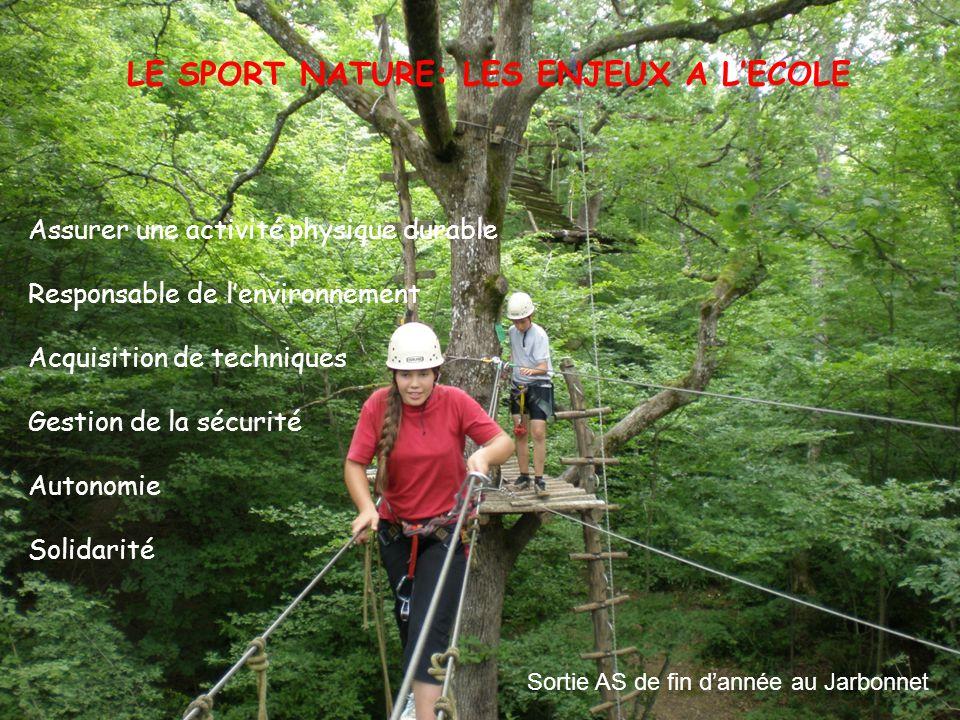 Sortie AS de fin d'année au Jarbonnet LE SPORT NATURE: LES ENJEUX A L'ECOLE Assurer une activité physique durable Responsable de l'environnement Acqui
