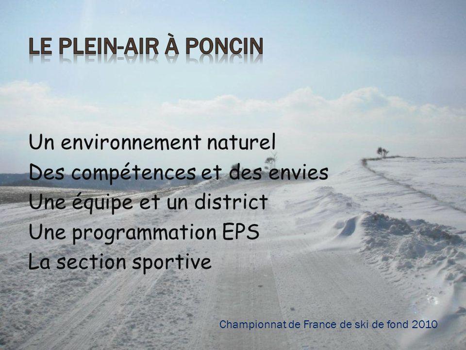 Un environnement naturel Des compétences et des envies Une équipe et un district Une programmation EPS La section sportive Championnat de France de sk