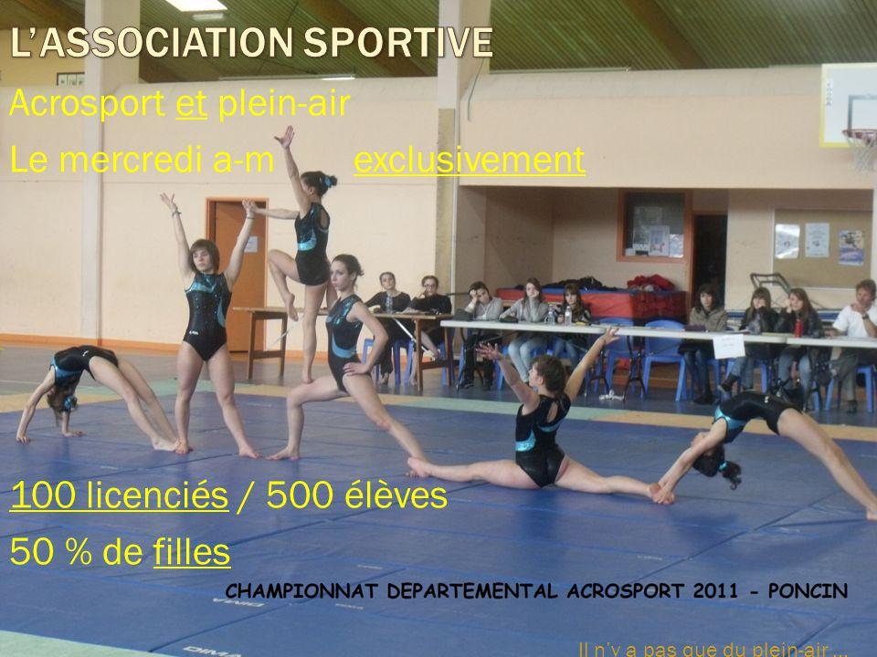 Acrosport et plein-air Le mercredi a-m exclusivement 100 licenciés / 500 élèves 50 % de filles Il n'y a pas que du plein-air...