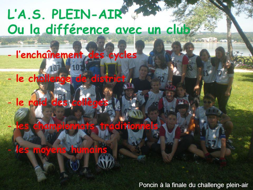 L'A.S. PLEIN-AIR Ou la différence avec un club - l'enchaînement des cycles - le challenge de district - le raid des collèges - les championnats tradit