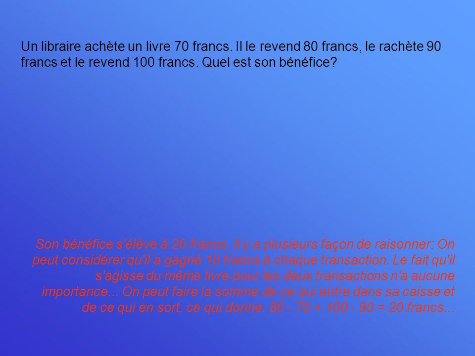 Un libraire achète un livre 70 francs. Il le revend 80 francs, le rachète 90 francs et le revend 100 francs. Quel est son bénéfice? Son bénéfice s'élè