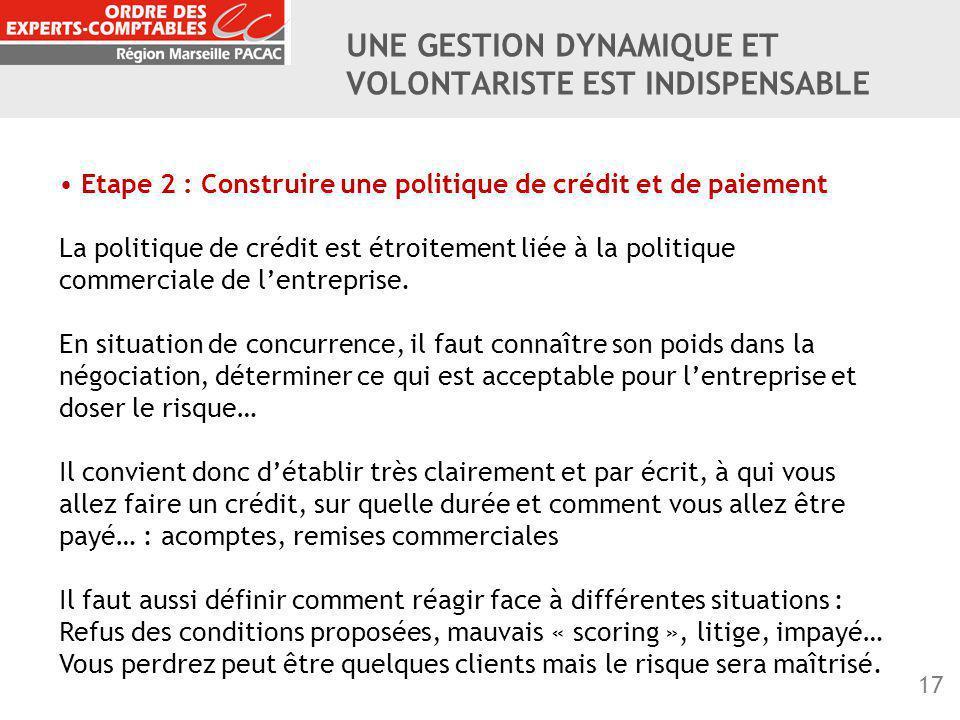 17 Etape 2 : Construire une politique de crédit et de paiement La politique de crédit est étroitement liée à la politique commerciale de l'entreprise.