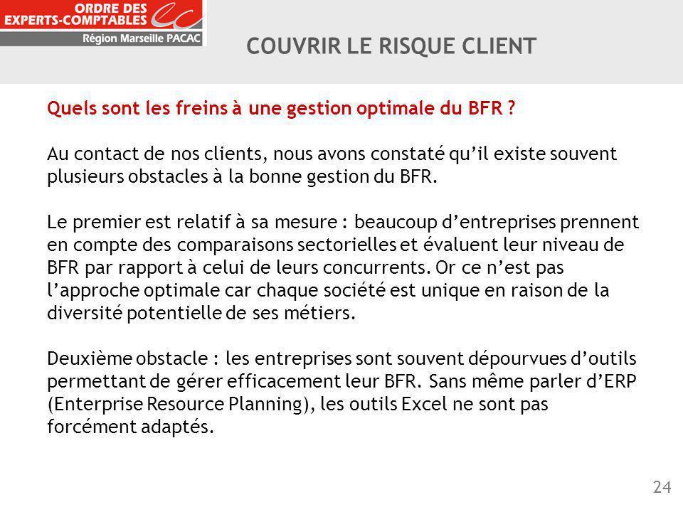24 COUVRIR LE RISQUE CLIENT Quels sont les freins à une gestion optimale du BFR ? Au contact de nos clients, nous avons constaté qu'il existe souvent