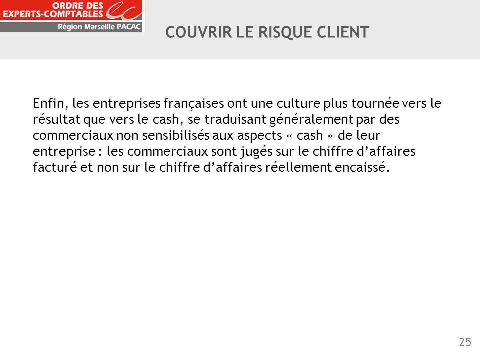 25 COUVRIR LE RISQUE CLIENT Enfin, les entreprises françaises ont une culture plus tournée vers le résultat que vers le cash, se traduisant généraleme