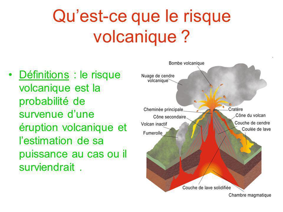 Qu'est-ce que le risque volcanique ? Définitions : le risque volcanique est la probabilité de survenue d'une éruption volcanique et l'estimation de sa