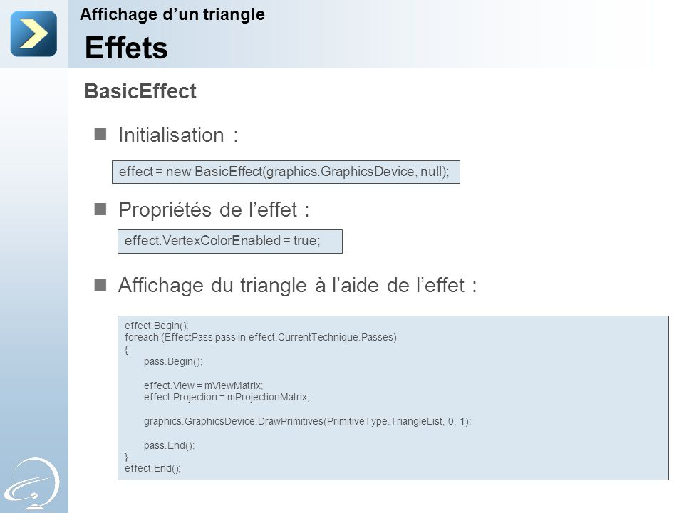 Initialisation : Propriétés de l'effet : Affichage du triangle à l'aide de l'effet : BasicEffect Affichage d'un triangle Effets effect = new BasicEffect(graphics.GraphicsDevice, null); effect.VertexColorEnabled = true; effect.Begin(); foreach (EffectPass pass in effect.CurrentTechnique.Passes) { pass.Begin(); effect.View = mViewMatrix; effect.Projection = mProjectionMatrix; graphics.GraphicsDevice.DrawPrimitives(PrimitiveType.TriangleList, 0, 1); pass.End(); } effect.End();