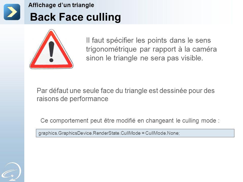 Affichage d'un triangle Back Face culling Il faut spécifier les points dans le sens trigonométrique par rapport à la caméra sinon le triangle ne sera pas visible.