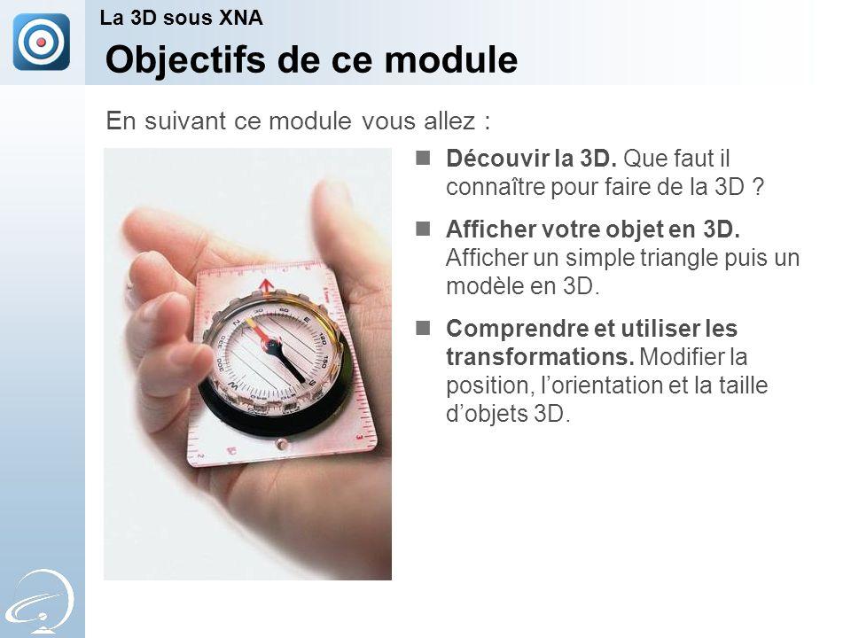 Objectifs de ce module Découvir la 3D. Que faut il connaître pour faire de la 3D .