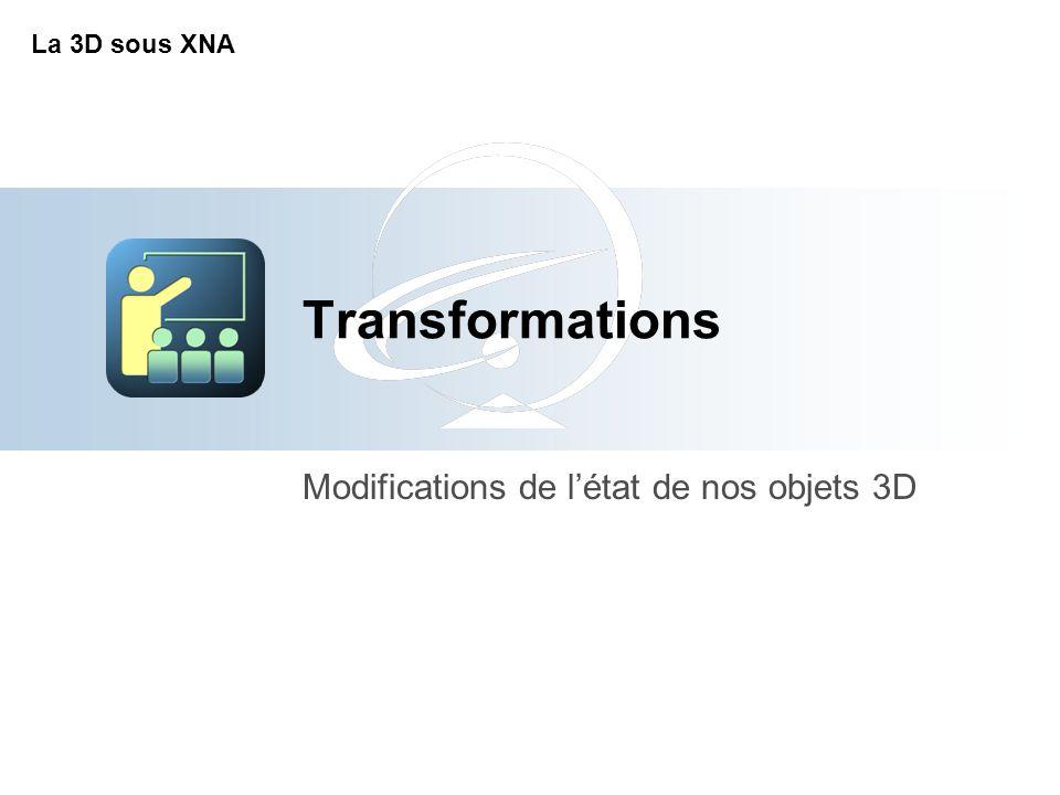 Transformations Modifications de l'état de nos objets 3D La 3D sous XNA