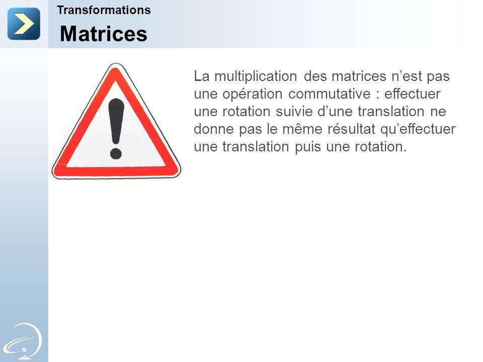 Transformations Matrices La multiplication des matrices n'est pas une opération commutative : effectuer une rotation suivie d'une translation ne donne pas le même résultat qu'effectuer une translation puis une rotation.