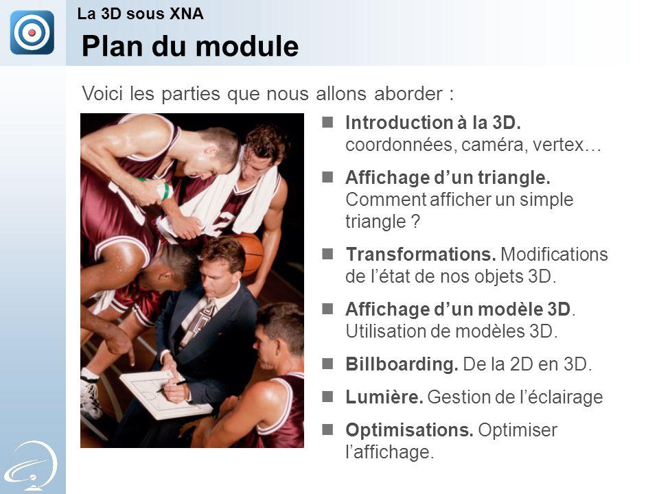 Plan du module Introduction à la 3D. coordonnées, caméra, vertex… Affichage d'un triangle.