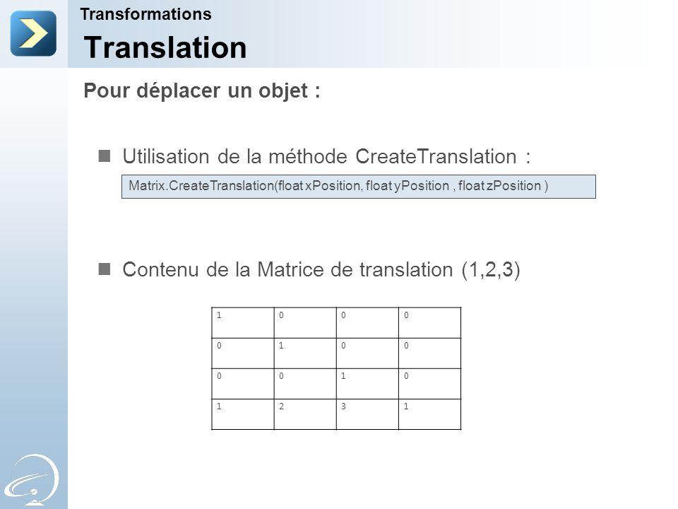 Pour déplacer un objet : Transformations Translation Utilisation de la méthode CreateTranslation : Contenu de la Matrice de translation (1,2,3) Matrix.CreateTranslation(float xPosition, float yPosition, float zPosition ) 1000 0100 0010 1231