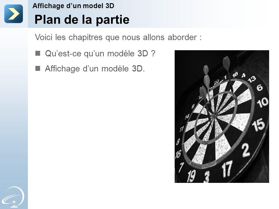 Plan de la partie Qu'est-ce qu'un modèle 3D . Affichage d'un modèle 3D.